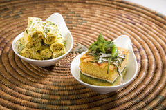 Food Dhokla with Chees and Khandvi Stock Photo