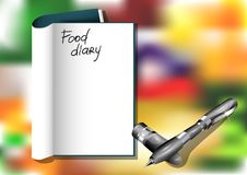 Food diary. And pen on blured background Stock Photo