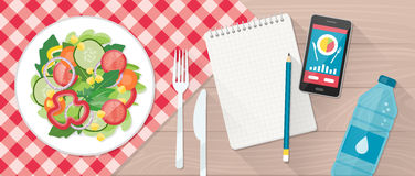 Food and diet. Food, diet, healthy lifestyle and weight loss banner with a dish of salad, table set, smartphone and diet plan on a notebook stock illustration