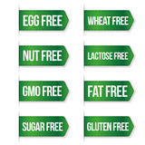 Food diet icon collection set, gluten free, sugar free, nut free Stock Photo