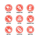 Food dietary symbols. Gmo free, no gluten, sugarless and allergy vector icons set. No sugar and gluten, ban gmo amd phosphate illustration Stock Photography