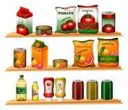 Food in different packages on shelves. Illustration vector illustration