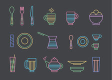 Food and dinnerware set of icons in line vector graphics. Spoon, fork, knife, cup, plate, glass, cezve, teapot hot beverage Stock Photography