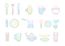 Food and dinnerware set of icons in line vector. Graphics. Spoon, fork, knife, cup, plate, glass, cezve, teapothot beverage and ice-cream Stock Images