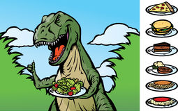 Food Dinosaur. Becoming a vegan, or showing food. With Vector, food is on a separate layer as well as the plate and can be removed. Other foods items on the vector illustration
