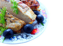Food, a dish of fish, baked on fire, dill Stock Photo