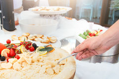 Food on a dish served during a buffet catering party Stock Images