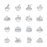 Food dishes icon set  on white background, vector meal icons outline style.  Stock Photography