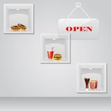 Food on Display. Easy to edit vector illustration of foods on display with open board stock illustration
