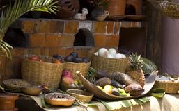 Food Display at a Mexican Restaurant. In Chiapas, Mexico stock image