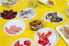 The food in disposable plates at  picnic Stock Photos