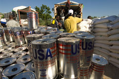 Food Distribution for Flood Victims Royalty Free Stock Photography