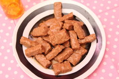Food for Dogs. Some food for dogs of pork meat with sauce Royalty Free Stock Photography