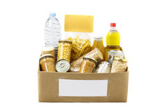 Food in a donation box Royalty Free Stock Photo