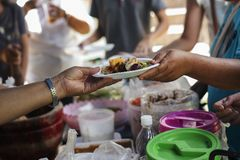 Food donation to help people in hunger relief Royalty Free Stock Images