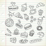 Food doodle. On a piece of paper Stock Photography