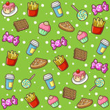 Food doodle background. Food cartoon pattern, food doodle icon Royalty Free Stock Photos