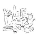 Food Doodle Herbs and Seasoning Royalty Free Stock Photos