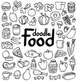 Food doodle. Doodle food set of 50 various products, fruits, vegetables and much more Stock Photo