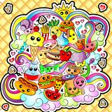 Food Doodle. Vector Illustration Kawaii Cute Food Doodle vector illustration