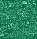 Food Doodle. Vector illustration of food in doodle style, white on green Stock Images