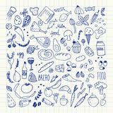 Food doodles collection. Hand drawn vector icons. Freehand drawing Royalty Free Stock Photos