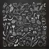 Food doodles collection. Hand drawn vector icons. Freehand drawing vector illustration