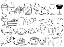 Food doodles Royalty Free Stock Images