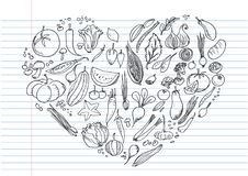 Food doodles set, Hand drawn Icons set. In the shape of heart on lined notebook paper Royalty Free Stock Photography