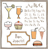 Food drawings and ABC set. Royalty Free Stock Photography