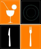 Food and drink. Utensils on rectangular background Royalty Free Stock Image