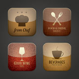 Food and drink application icons. Restaurant theme Royalty Free Stock Images