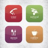 Food and drink application icons. For restaurant, cafe, bar, coffee house Royalty Free Stock Image