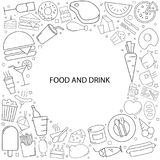 Food and drink background from line icon. Linear vector pattern Royalty Free Stock Images