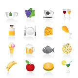 Food, Drink and beverage icons Stock Images