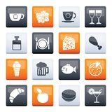 Food, Drink and beverage icons over color background stock image