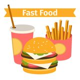 food and drink. Burger, fries. Flat. isolated. Stock Photos