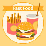 Food and drink. Burger, fries. Flat Royalty Free Stock Images