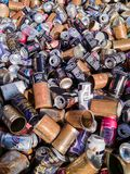 Food and Drink Cans for Recycling stock photos