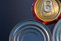 Food and drink cans ,selective focus,. Food and drink cans, selective focus,voluntary blur Royalty Free Stock Photo