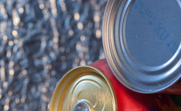 Food and drink cans ,selective focus,voluntary blur. Food and drink cans in front of blurred background, selective focus,voluntary blur,macro Royalty Free Stock Photos
