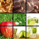 Food and drink collage. Or collection showing healthy lifestyle Royalty Free Stock Photography
