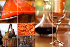 Food and drink collage. Concept of fine food and drink images put together in a decorative collage Stock Images