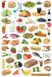 Food and drink collection background fruits vegetables fruit drinks isolated royalty free stock image