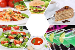 Food and drink collection collage beverages drinks meal meals re Stock Images