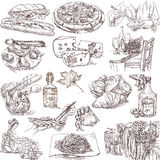 Food and drink. Collections of hand drawn illustrations isolated on white - food around the world Royalty Free Stock Images