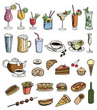 Food and drink color set Royalty Free Stock Photography
