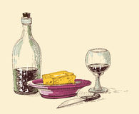 Food and drink composition. Bottle of wine, glass, plate with cheese and knife. Kitchen items Royalty Free Stock Image