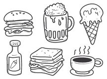 Food and drink doodle Stock Photos