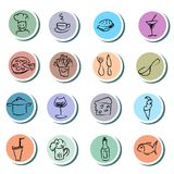 Food and drink doodles icons set. On white background Royalty Free Stock Image
